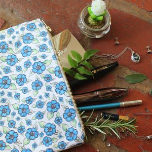 Azure Watercolour Flower Pouch - make-up & wash bags