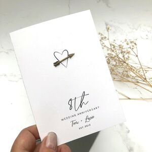 8th Bronze Heart Arrow Personalised Anniversary Card