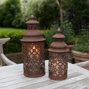 Round Filigree Metal Lantern