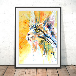 Cat's Eyes Watercolour Fine Art Print