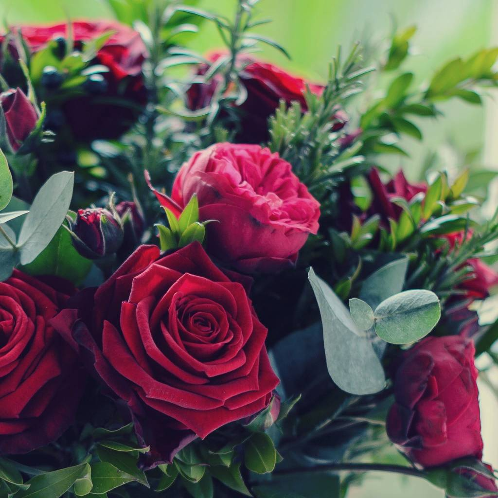 Garden red rose and herb luxury bouquet by the flower studio - Red garden rose bouquet ...