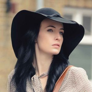 Ladies Wide Brim Floppy Wool Fedora Hat - hats & fascinators
