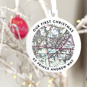 Personalised Map Christmas Tree Bauble Decoration - tree decorations