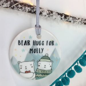 Ceramic Personalised Bear Hugs Christmas Bauble