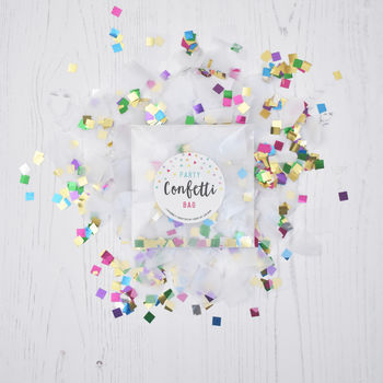 Metallic Rainbow And White Party Confetti Bag