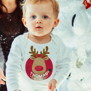 1st Christmas Reindeer Name Vest - clothing