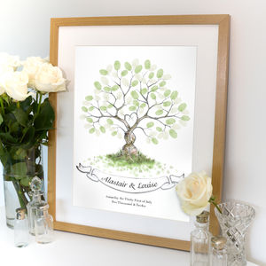Entwined Fingerprint Tree Guest Book - guest books