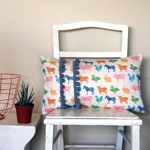 Farmyard Cushion With Grey Pom Poms - patterned cushions