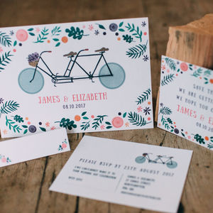 Tandem Bike Lovers Wedding Stationery Collection - invitations