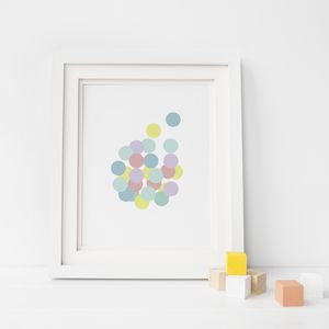 Multicoloured Pastel Circles Nursery Print - posters & prints