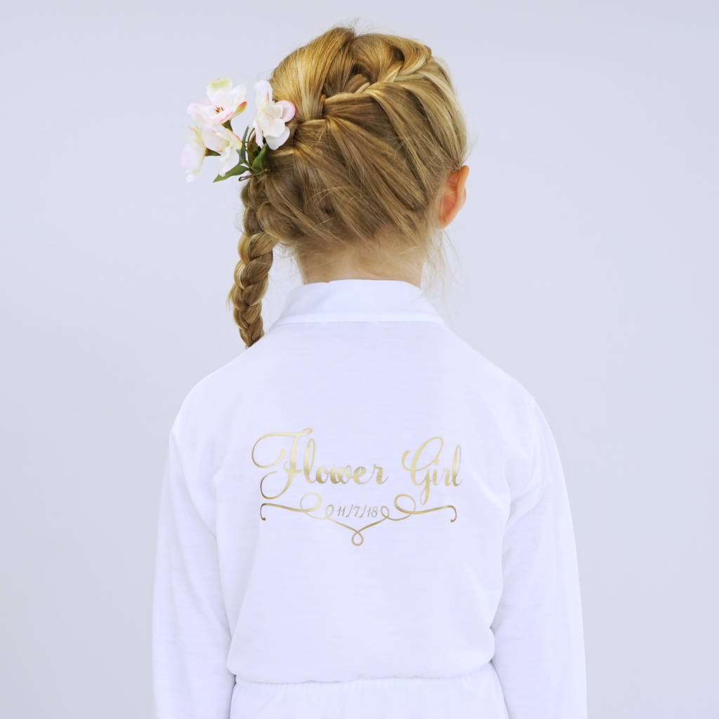 personalised wedding dressing gown for a flower girl by sparks and ...