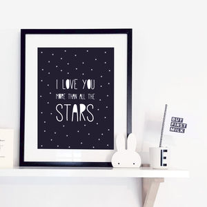'I Love You More Than All The Stars' Typographic Print - children's room