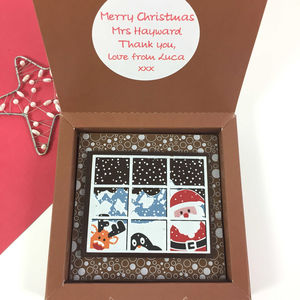 Chocolate Personalised Message Christmas Santa Friends