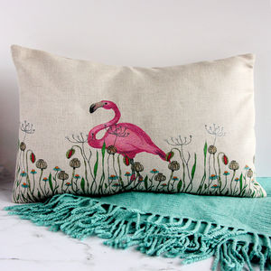 Flamingo In A Meadow Linen Cushion