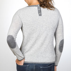 Cashmere Jumper With Contrast Elbow Patches - women's fashion