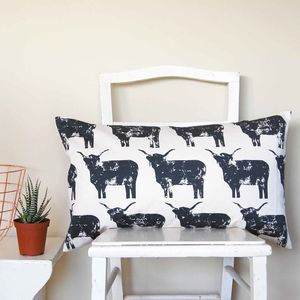 Large Rectangle Highland Cow Cushion - patterned cushions