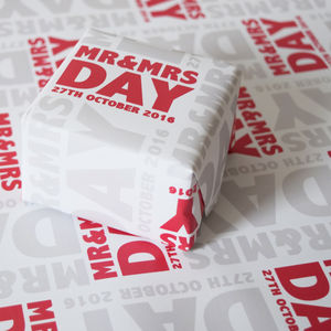 Personalised Mr And Mrs Wedding Wrapping Paper