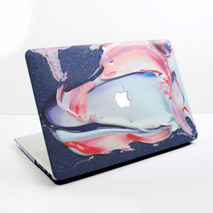 Blue, Pink And White Paint Mix Design For Macbook Case