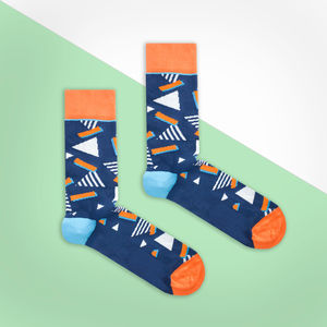 Dark Blue And Orange Retro Socks - socks