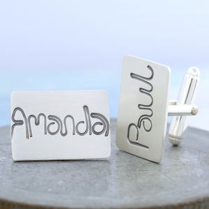 Name Cufflinks Personalised Silver Script