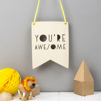 'You're Awesome' Typographic Style Wooden Wall Art