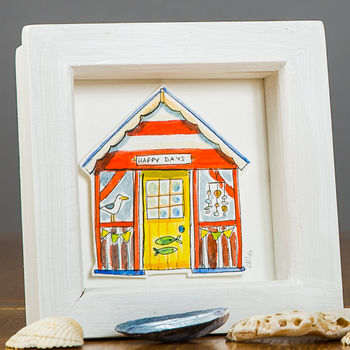 Personalised Beach Hut Watercolour Illustration
