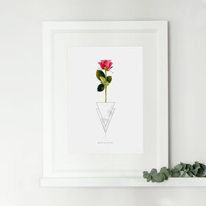Personalised Red Rose Anniversary Gift Print - posters & prints