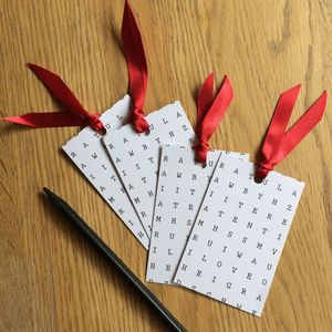 Word Search Gift Tag Four Pack