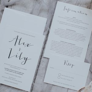 Calligraphy Style Wedding Invitation Set - save the date cards