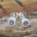 Silver Purple Tanzanite December Gemstone Stud Earrings