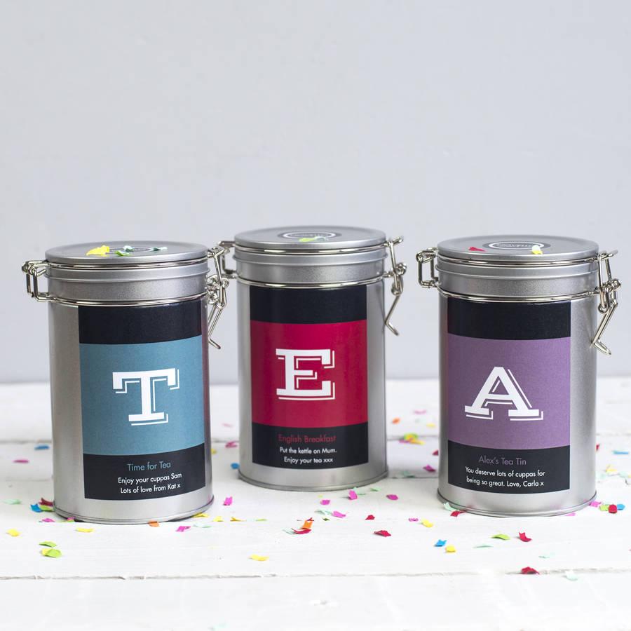 Personalised Initial Tea Gift Tin