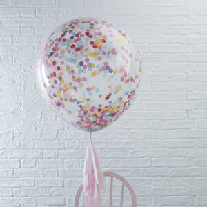 Three Pack Mulit Coloured Giant Confetti Party Balloons - balloons