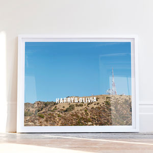 Personalised Couples Hollywood Sign Print - engagement gifts