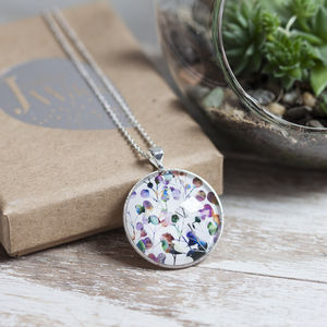 Botanica Silver Necklace And Glass Pendant - necklaces & pendants