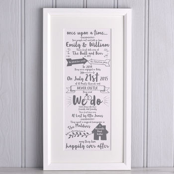 Personalised Story of Our Wedding Print from Letterfest