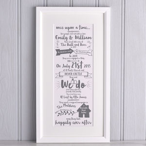 Personalised Story Of Our Wedding Print - what's new