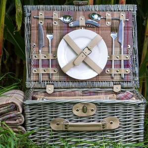 Suitcase Picnic Hamper | Grey Or Autumn Tartan - gifts for grandparents