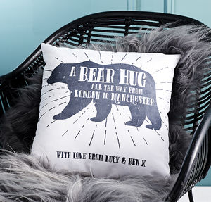 'A Bear Hug From' Personalised Locations Cushion - bedroom