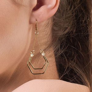 Long Geometric Gold Earrings