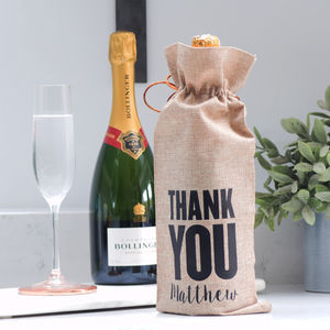 Personalised Thank You Wine Bottle Gift Bag