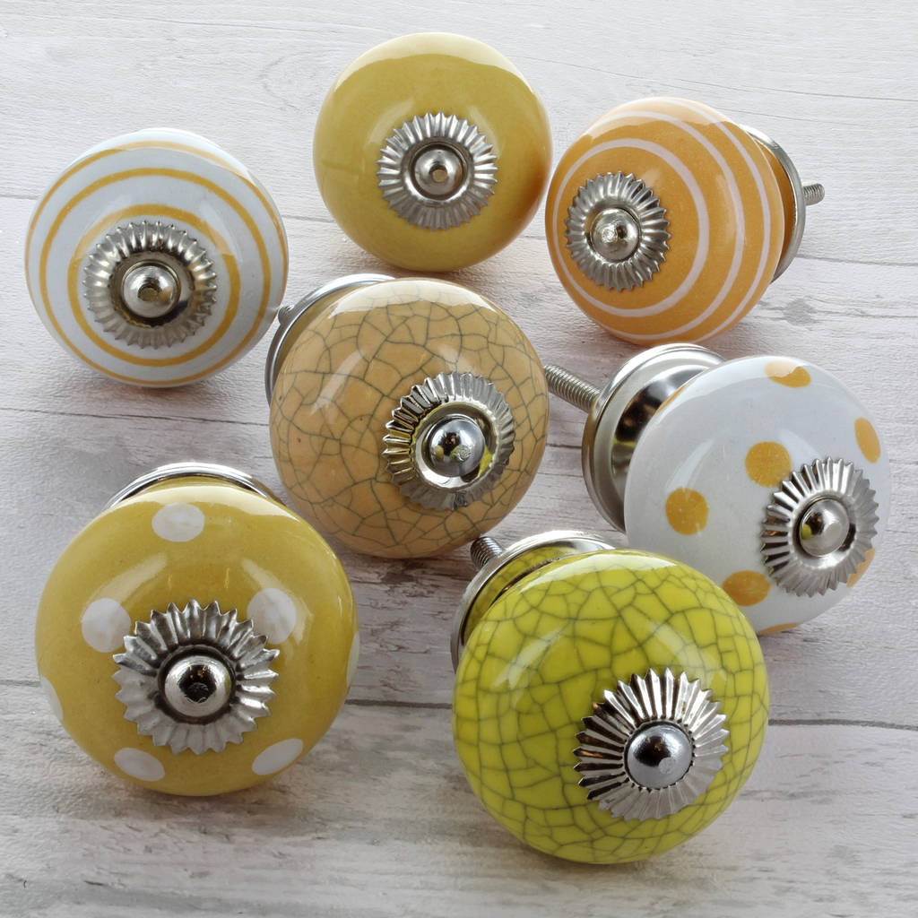 Yellow Ceramic Door Knobs Cupboard Drawer Pull Handles & yellow ceramic door knobs cupboard drawer pull handles by g decor ...
