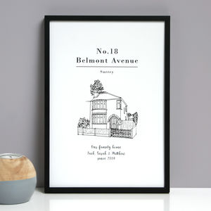 Personalised House Line Drawing Print - family & home