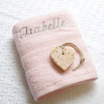 Personalised Pink Hand Towel With Aroma Soap