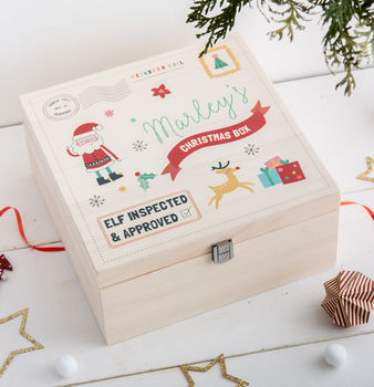 Personalised Children's Santa Christmas Eve Wooden Box