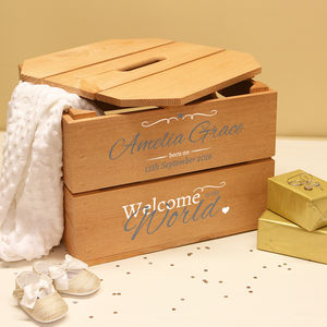 Personalised Christening Crate - naming day celebration gifts