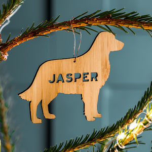Personalised Bamboo Pet Christmas Decoration - tree decorations