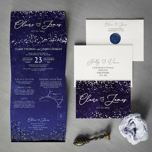 Winter Snow Concertina Wedding Invitation