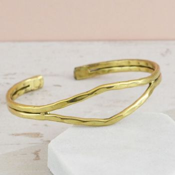 Double Strand Open Detail Hammered Bangle