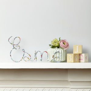 Personalised Sign Liberty Betsy Pastel Fabric And Wire