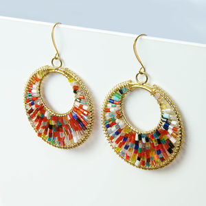 Beaded Glass Statement Hoop Earrings